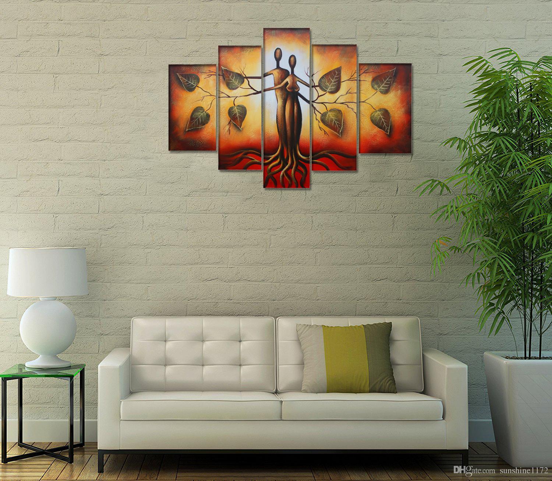 Acquista Decorazione Murale Decorazione In Tela Di 5 Pezzi Eden Amover Dipinto A Mano Dipinto Ad Olio Moderno Dipinto A Mano Contemporaneo Art A 37 04 Dal Sunshine1172 It Dhgate Com