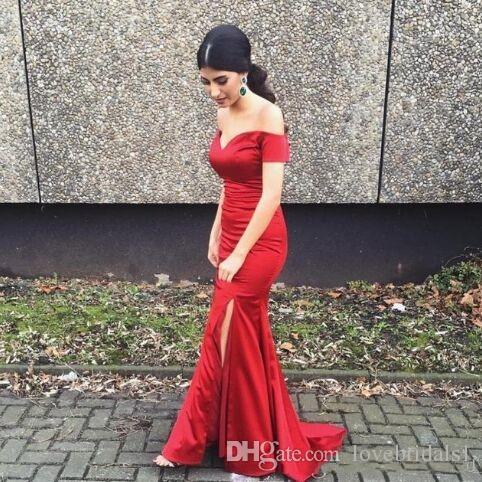 vestido de baile vermelho sexy com sereia do assoalho-comprimento de cetim mangas curtas cobertas dividir lado em estoque barato vestido de convidado do casamento