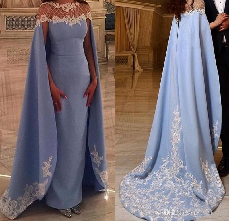 Saudi Arabic Long Evening Dresses Watteau Train Sheer Neck Satin Sheath Prom Dresses With A Cloak Lace Appliques Formal Party Gowns