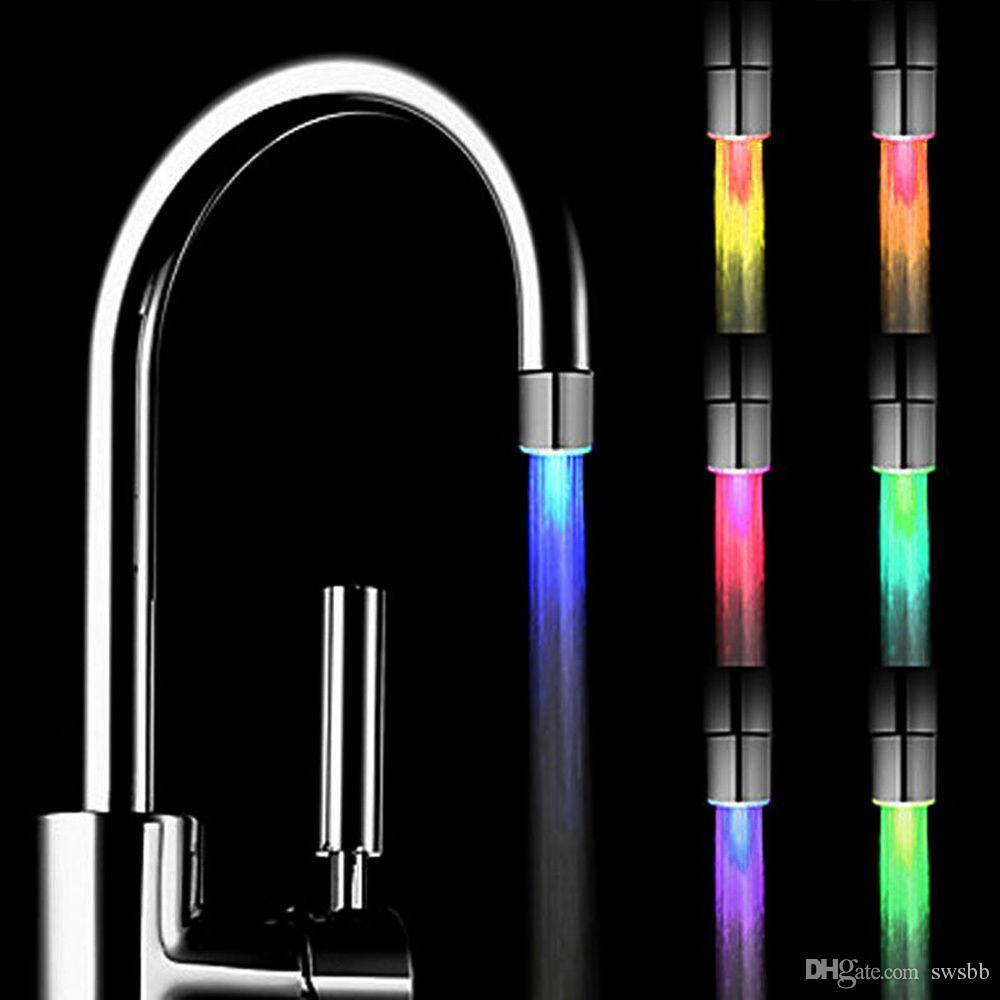موضة جديدة الصمام صنبور المياه تيار الضوء 7 ألوان تغيير الوهج دش صنبور بالوعة الحنفية رئيس مطبخ استشعار درجة الحرارة السلامة البيئية