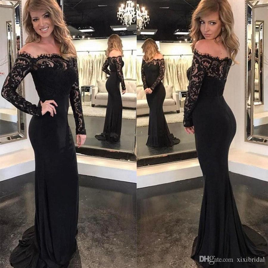 Charming Black Mermaid Evening Dresses Off Shoulder Long Sleeves Lace Top Women Evening Gowns Formal Prom Dress 2017 Long Sleeve Evening Dresses Uk