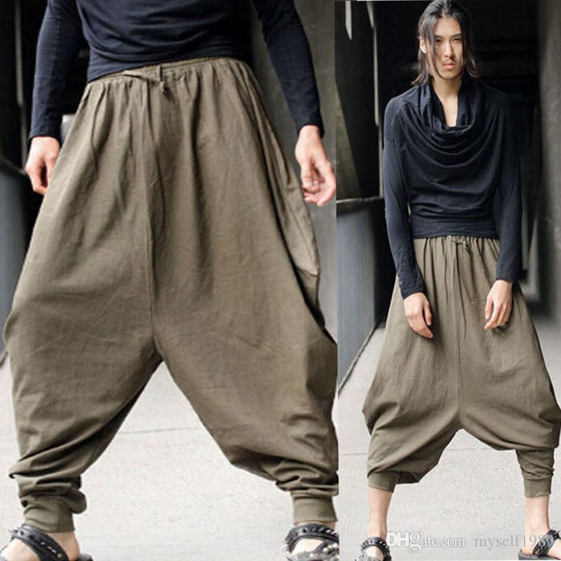Hombres de gran tamaño Vintage Hippy verde Boho Aladdin Harem pierna ancha Pantalones Ninja Pantalones Algodón Casual Nepal Hombres pantalones largos