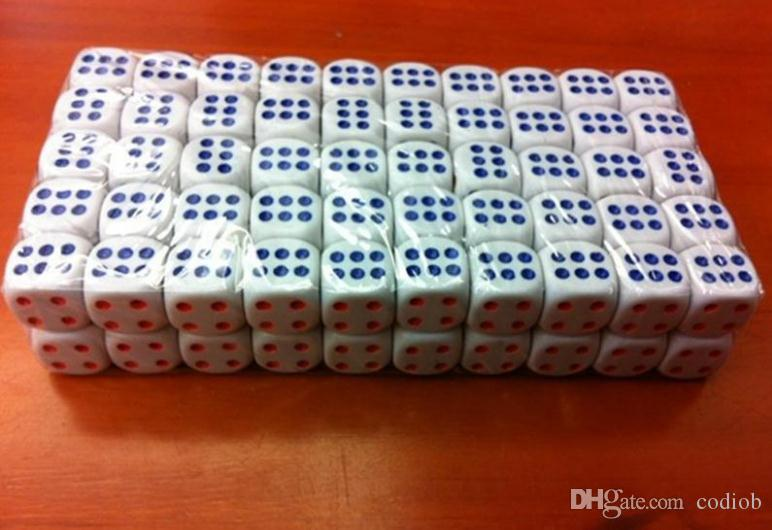 D6 14mm White 6 Sided Dice Red Blue Point Normal Dice Bosons High Quality Dices Drink Game Casino Craps Party Playing Dices #N46