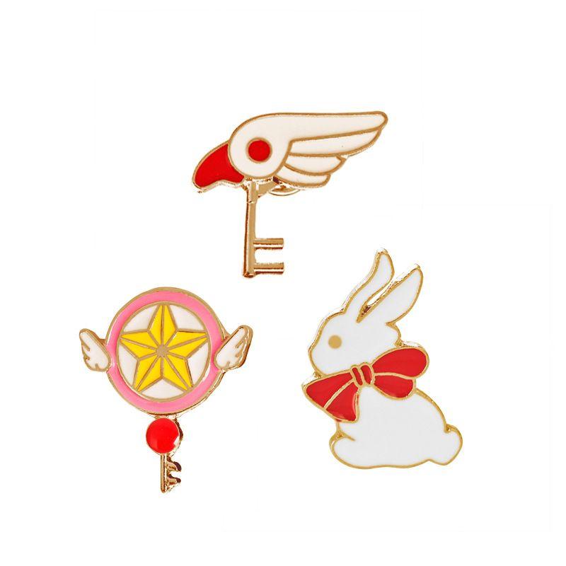 Il serpente animale di modo di favore delle spille del coniglio della spilla del fumetto della bacchetta magica del coniglio di Cardcaptor Sakura libera il trasporto