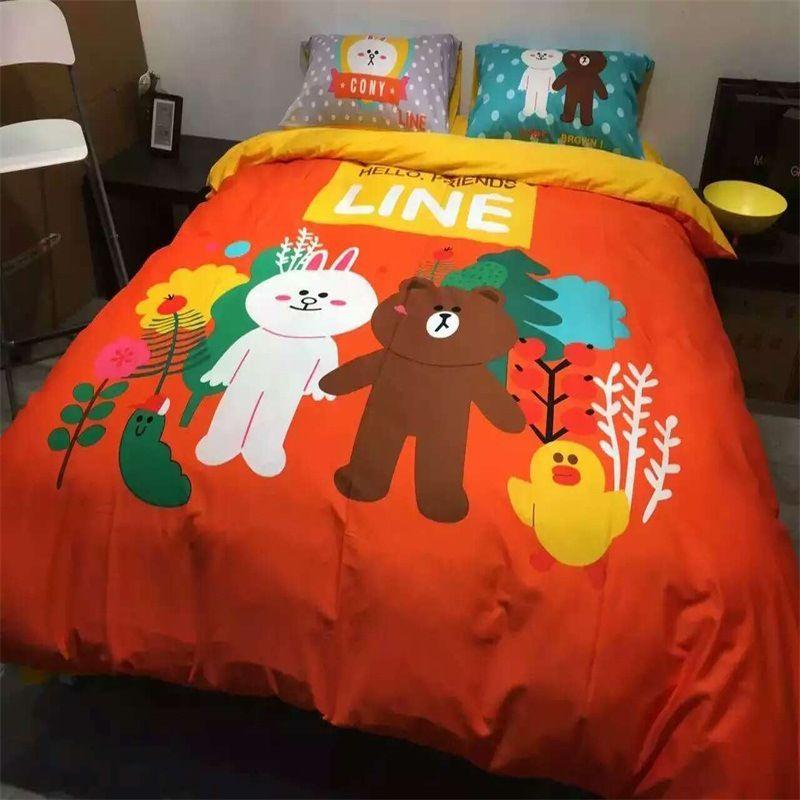 100% cotton four-piece set of brown bear Konnie rabbit cartoon sheets quilt cover