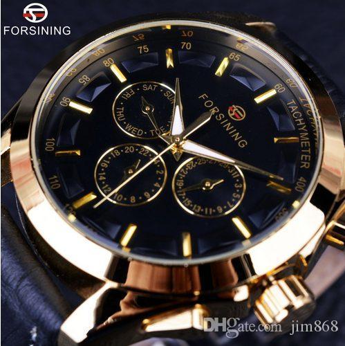 Forsining Business Time Series Noir Bracelet En Cuir Véritable 3 Cadran 6 Mains Hommes Montres Top Marque De Luxe Automatique Montre Horloge Hommes