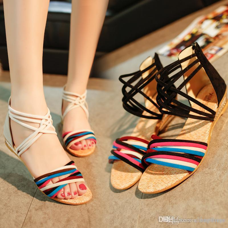 Cheap Fashion White And Black Flat Heel