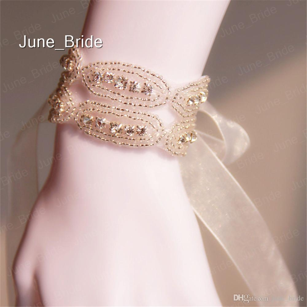 Double Row Glass Rhinestone Crystal Hand Chain Bridal Jewelry Free Shipping Wedding Party Bracelets Accessory Prom Evening Ribbon Tie Back