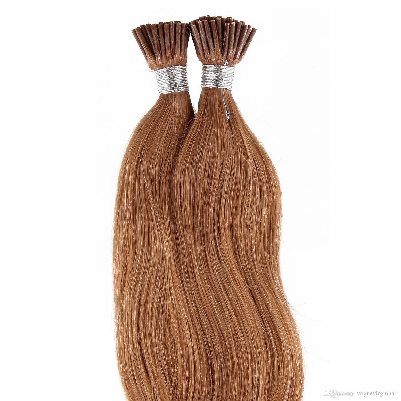 Kahverengi Bal Sarışın Düz Işlenmemiş perulu i-ucu İnsan saç uzantıları Brezilyalı İnsan saç önceden gümrük saç uzantıları 50 gram