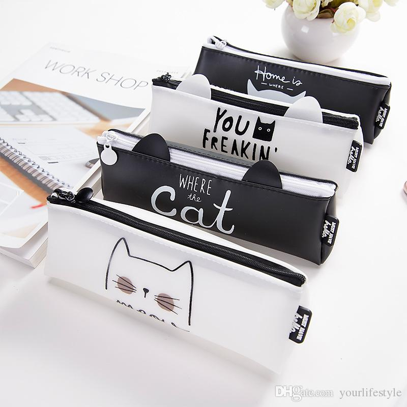 Coreano Lovely Cat Triangolo Silicone impermeabile Scuola Matita Casi Cancelleria Pencilcase Kawaii Borsa ragazze matita caso per la scuola