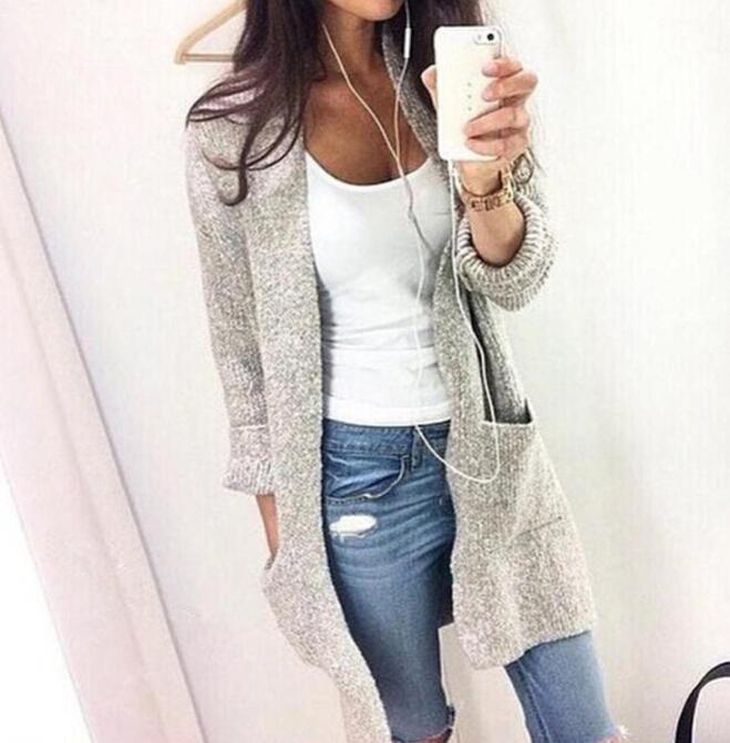 Sonbahar Kış Moda Kadınlar Uzun Kollu Gevşek Örgü Hırka Hırka Kazak Bayan Örme Kadın Hırka Kazak