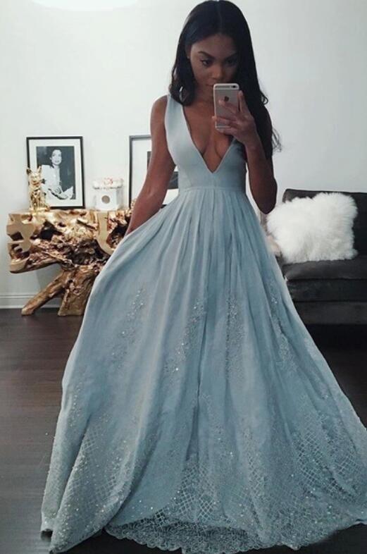 Light Blue Black Girl Prom Dresses 2017 Deep V Neck A Line Evening ...