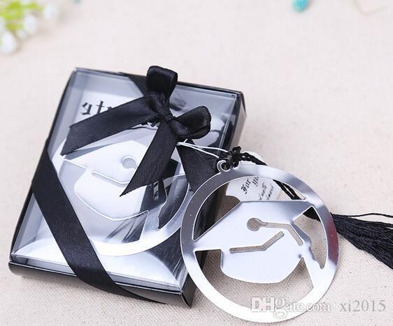 العلامة التجارية الجديدة 100pcs التي قبعة معدنية المرجعية التخرج مع حزب شرابة الهدايا التذكارية الطرف الأسود الأنيق Faovr هدايا للضيف