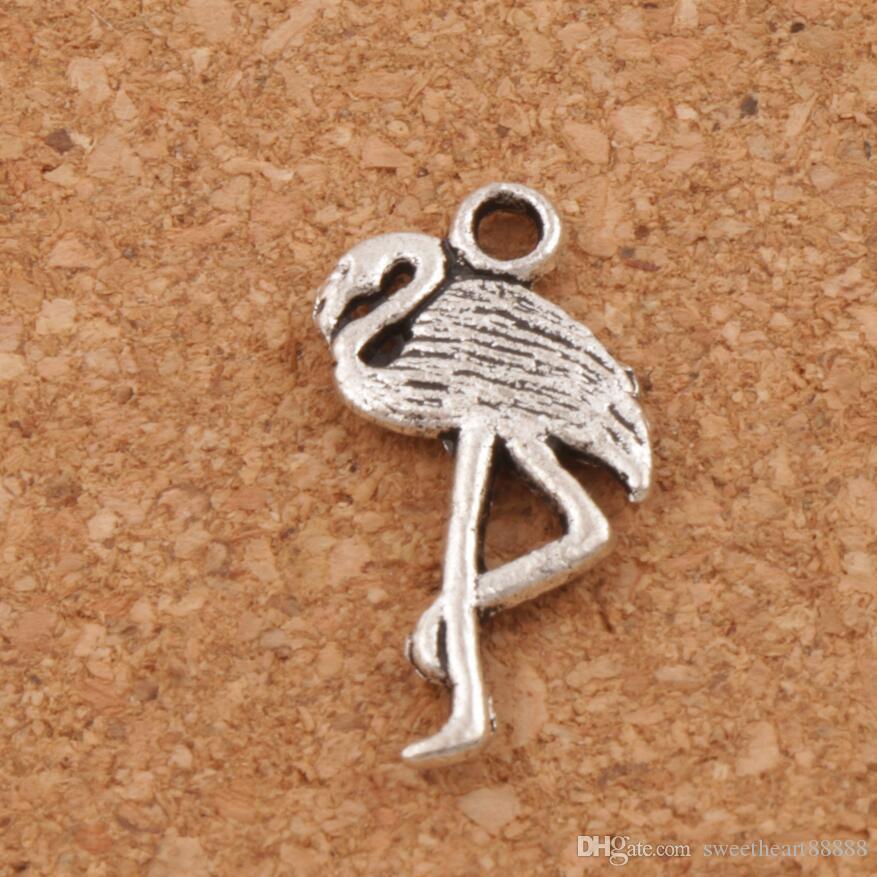 Flamingo Crane Charmes Pendentifs 150 pcs / lot Nouveau 24x10mm Antique Argent L186 Résultats de Bijoux Composants DIY Fit Bracelets Colliers