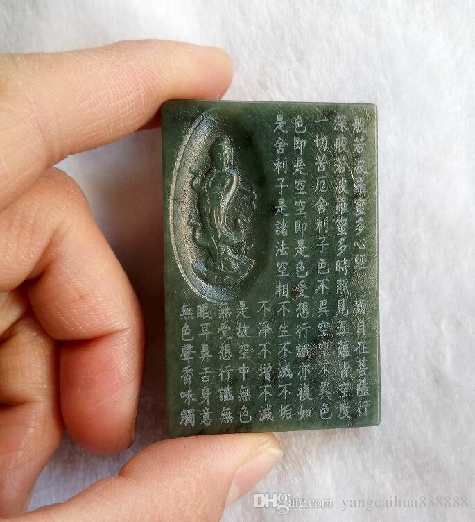 Çin Sincan yeşim yeşim el - şans getirerek oyulmuş (guan Yin), moda takı, siyah ve yeşil yeşim