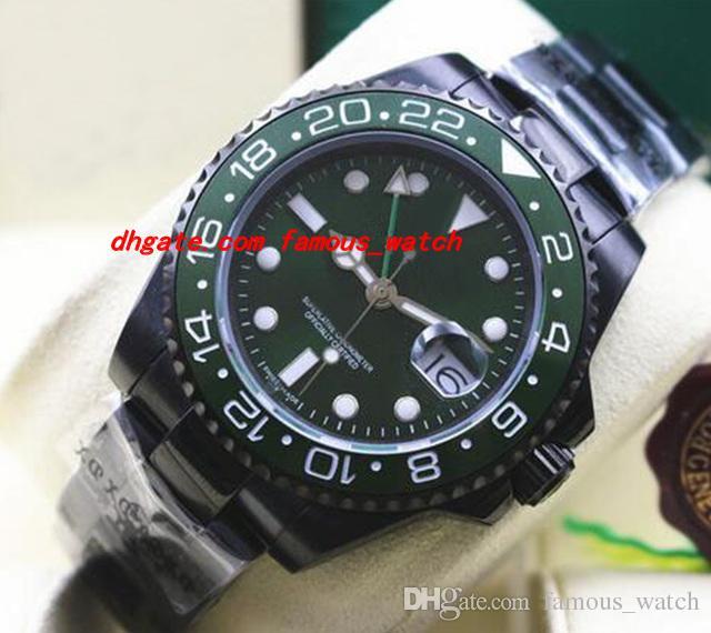 무료 배송 고급 패션 시계 PVD 코팅 녹색 116710 세라믹 베젤 기계 남성 시계와 새로운 스타일의 스테인레스 스틸