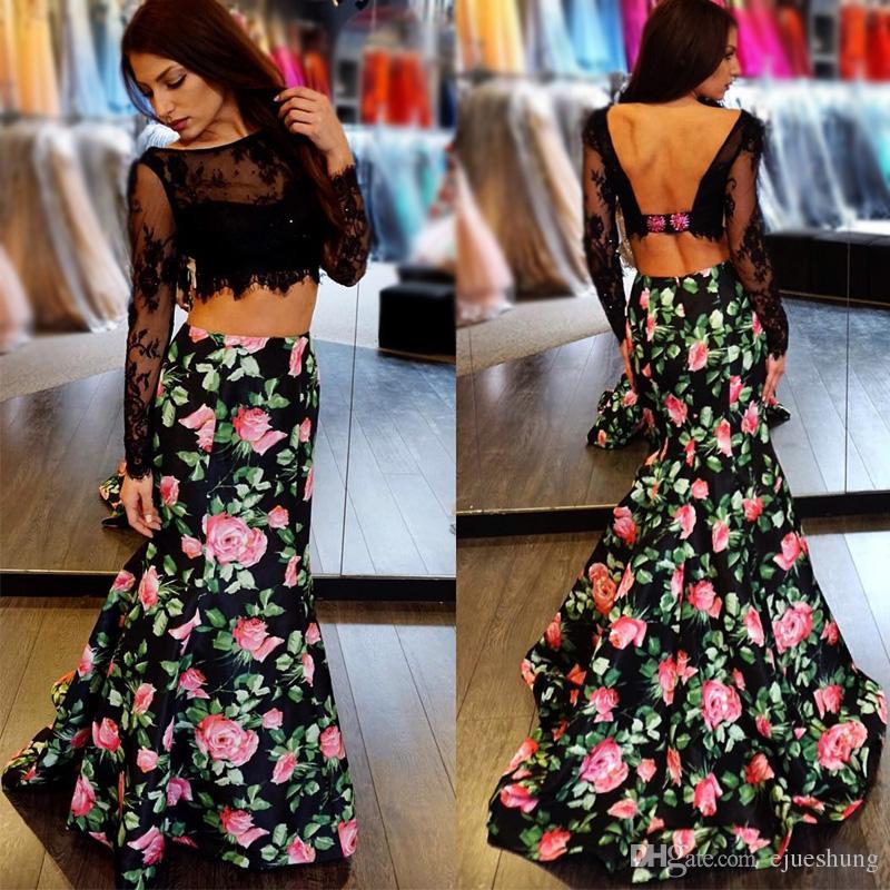 Black Floral Print Mermaid Prom Dresses