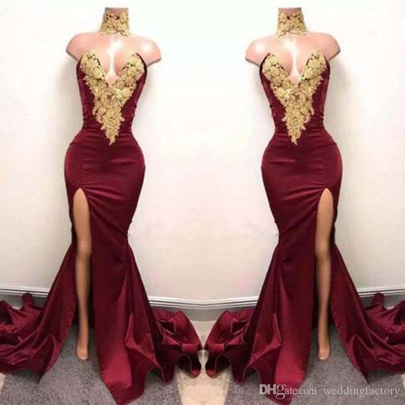 Sexig Bourgogne Mermaid High Split Prom Klänningar Guld Lace Appliques High Neck Prom Dress African Party Crows