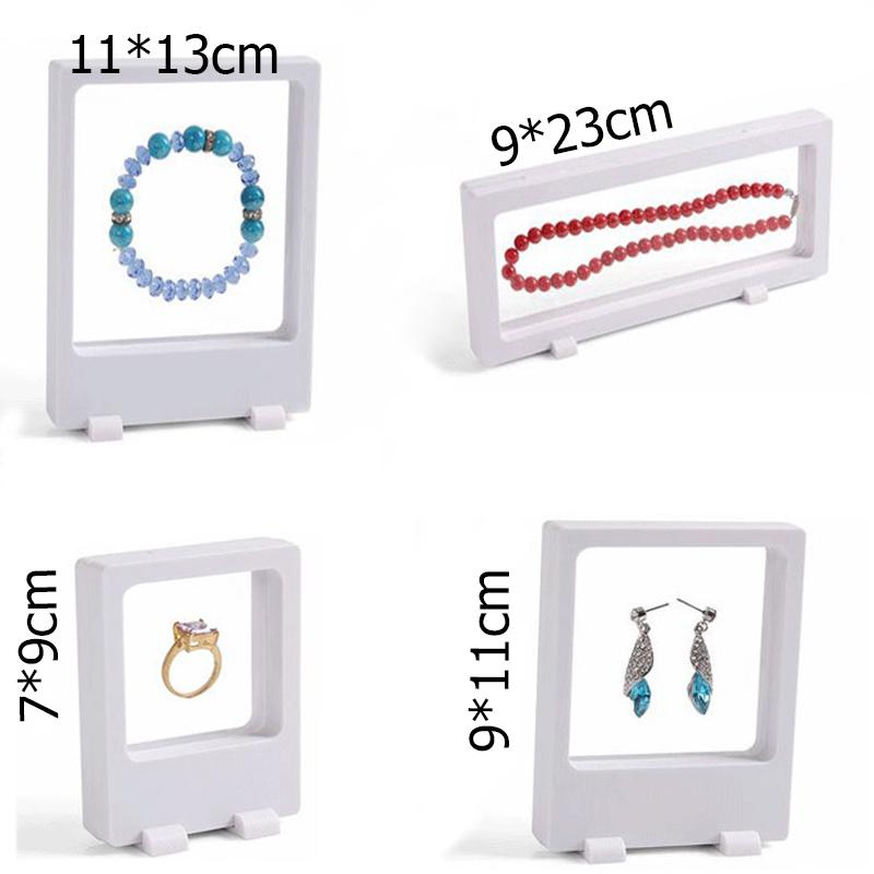 Free Shipping 4Pcs White Transparent Suspension Window Case Multifunctional Jewelry Earring Bracelet Bead Necklace Ring PET Display Stand