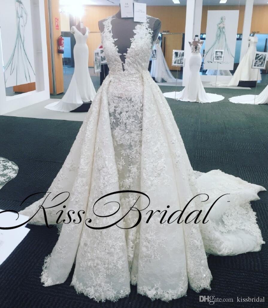 Réel Photo De Luxe Robes De Mariée Overskirts Full Lace Bling Bling Dubai Arabe Robes De Mariée Illusion V Cou Balayage Train