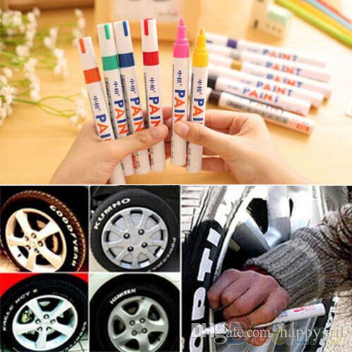 12 الألوان للماء صور السيارات مداس الإطار المطاط المعدني الدائم الطلاء ماركر القلم