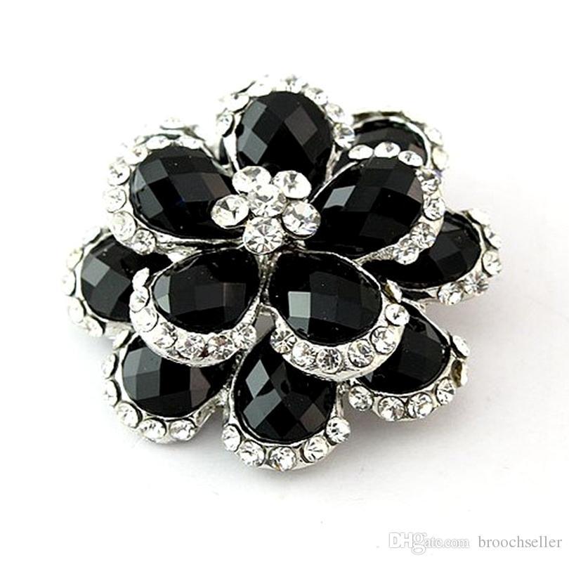 Zilveren kleur Clear Crystal and Black Steen Flower Bouquet Broche Pin