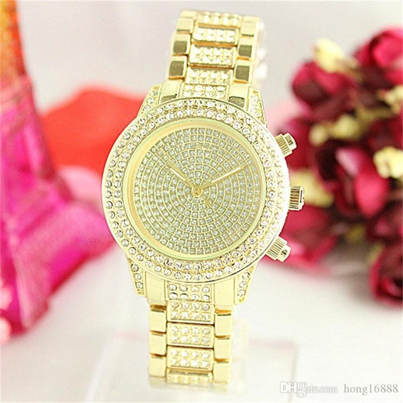 Moda de luxo Completa Homem De Aço / Mulher Relógios De Quartzo 2 estilo relógio Todas as estrelas do céu de Cristal Diamante inlay Mostrador do relógio / grandes letras Mostrador do relógio