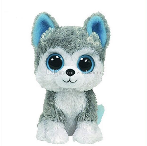 도매 - 1pc18cm 뜨거운 판매 Beanie Boos 큰 눈 거친 개 봉제 인형 장난감 동물 인형 귀여운 봉제 장난감 아이 장난감