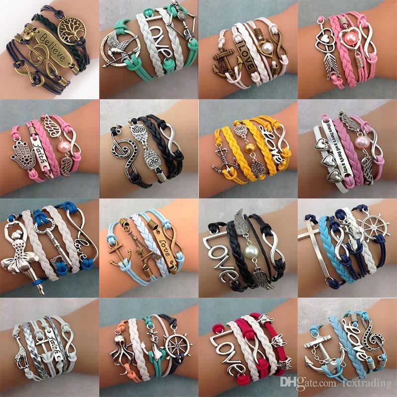 DIY Unendlichkeit Charme-Armbänder Antike-Kreuz-Armbänder Heißer Verkauf 55 Arten Mode Lederarmbänder Mehrschichtige Herz-Baum des Lebens Schmuck