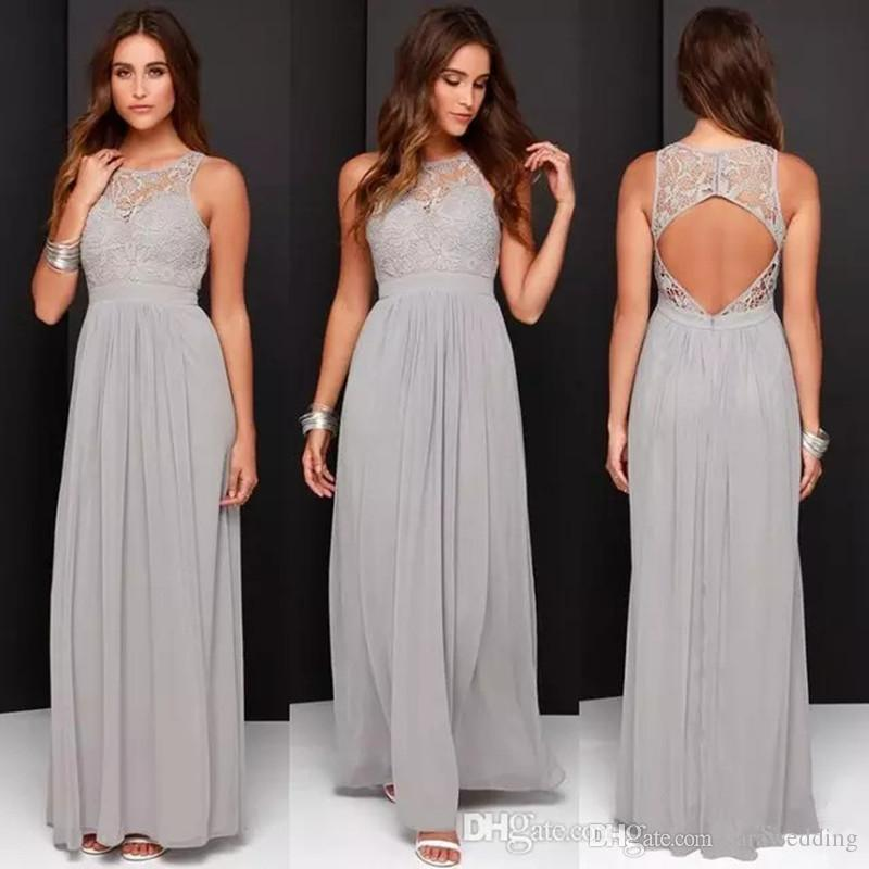 Long Lace Bridesmaid Dress Gray
