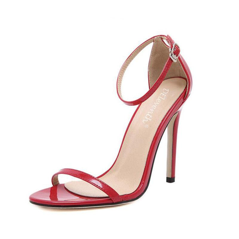 2017 New arrived Vogue 4 Color Summer women T-stage Classic Dancing High Heel Sandals Sexy Stiletto Party wedding shoes 11 cm heel