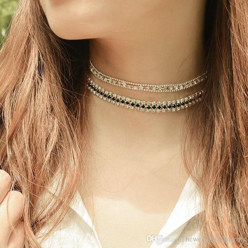 2pcs/set New Copper Beads Rhinestone Choker Collar Necklace for Women Girls Simple Neck Chocker Jewelry Wholesale Free Shipping XR710