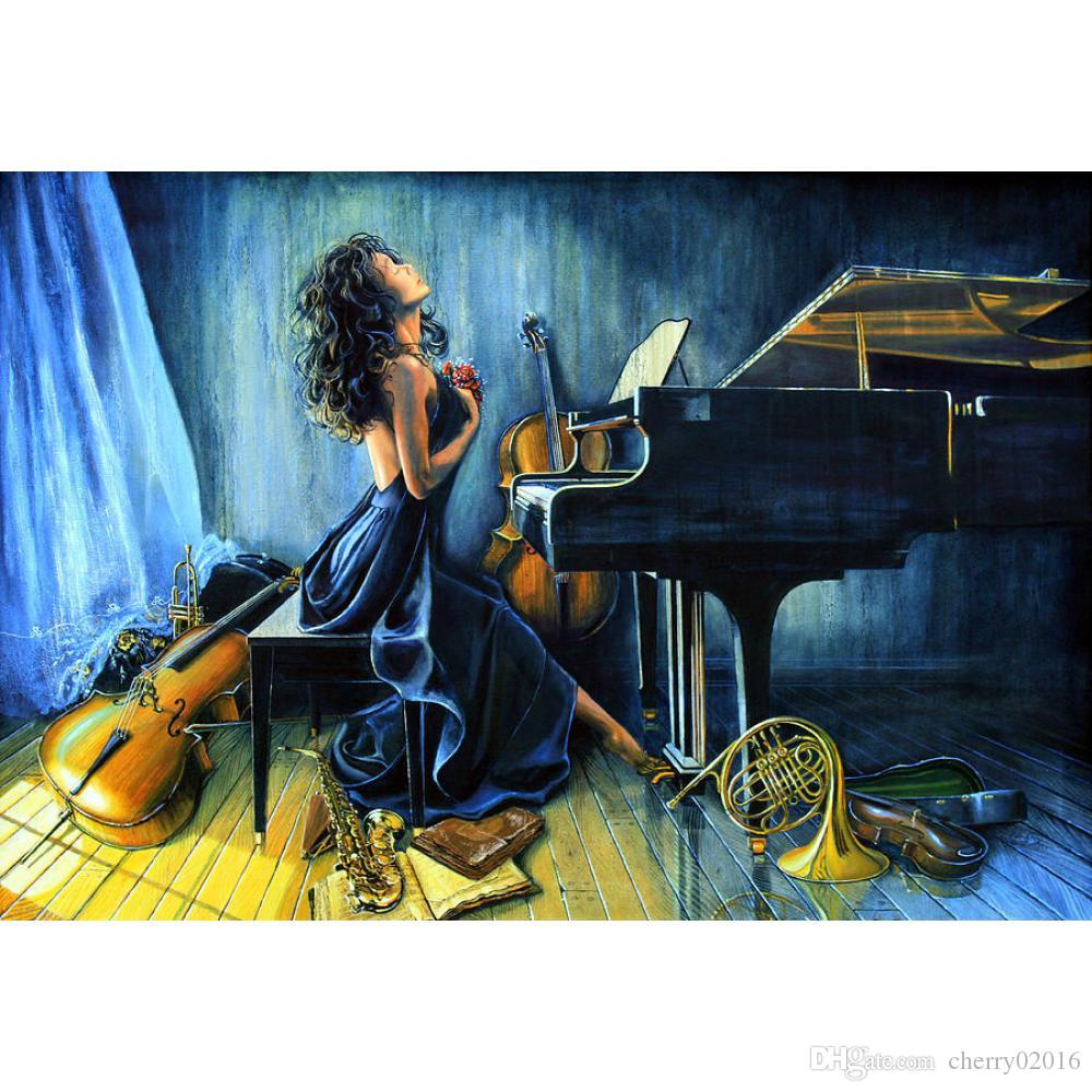Modern figure oil paintings girl playing piano handmade music art on canvas for room decorative High quality