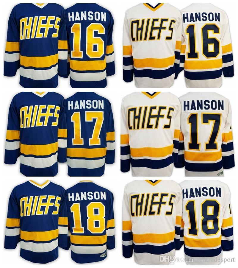 Slap Shot Film Charlestown Chef Hockey Jersey 16 Jack Hanson 17 Steve Hanson 18 Jeff Hanson Bleu Blanc Maillots Cousus