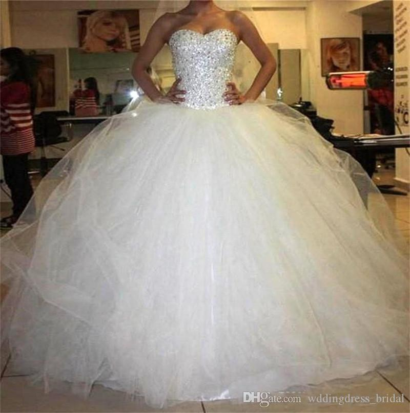 Compre Vestidos De Novia Tallas Grandes Vestidos De Novia Tallas Grandes 2019 Cristales Princess Ball Gown Puffy Wedding Dress A 221 91 Del Wddingdress Bridal Dhgate Com