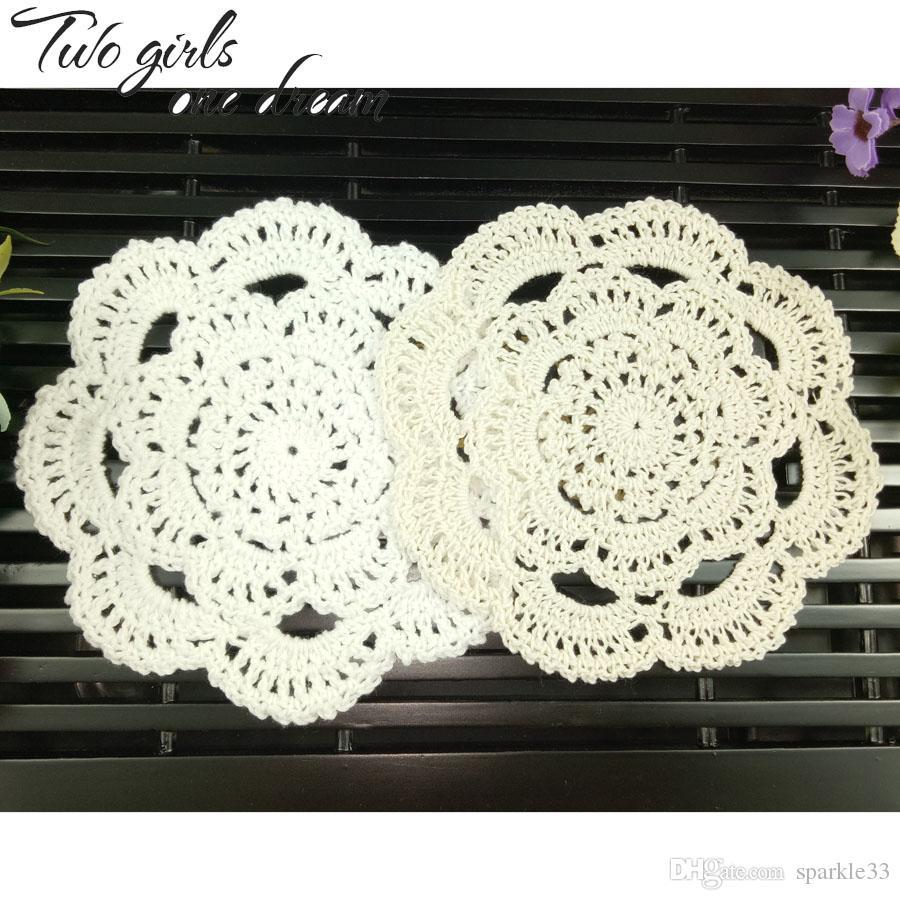 Vintage Diy Handmade 16cm Round Table Mat Crochet Coasters Zakka Doilies Cup Pad Props 24PCS/LOT