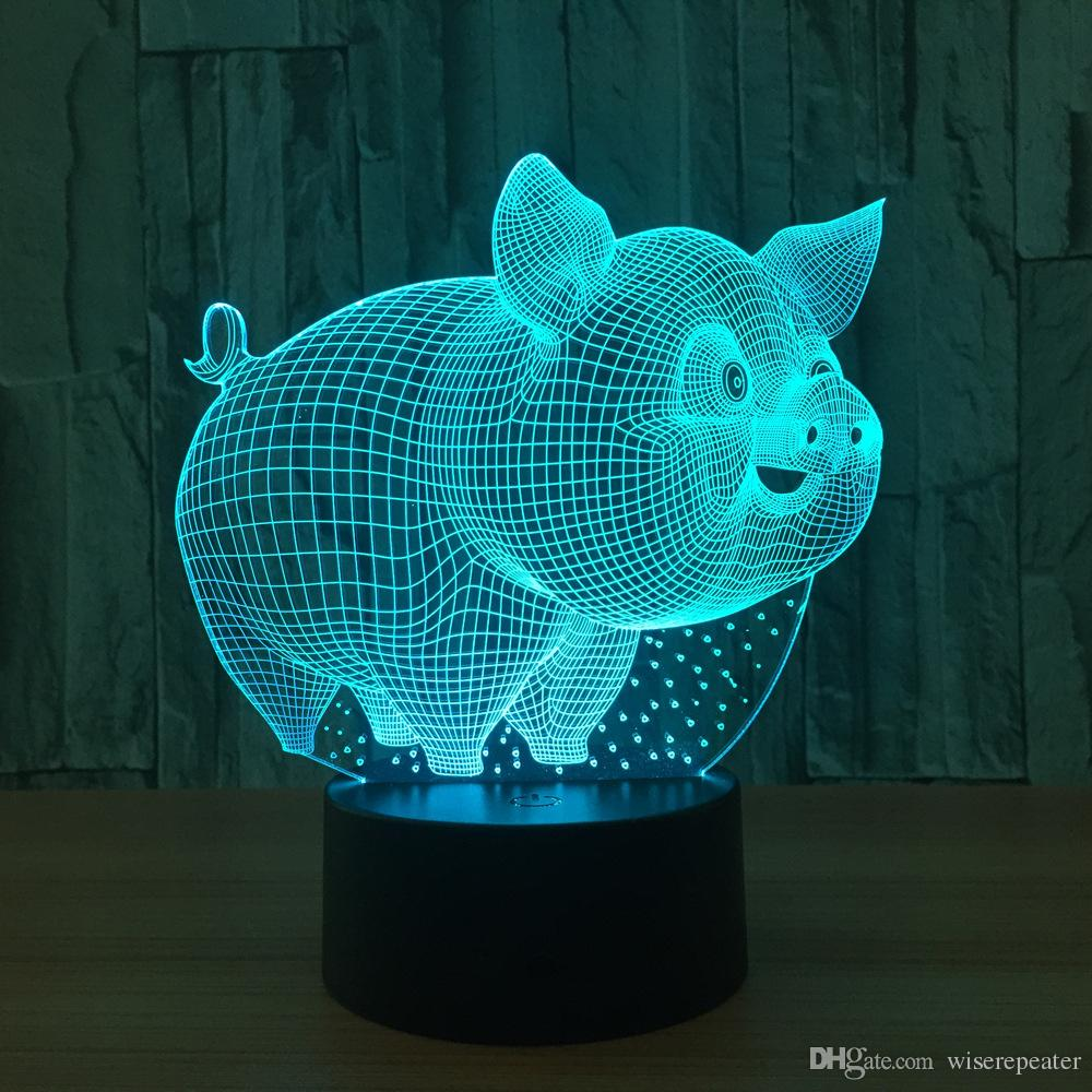 3D Pig Illusion Lamp Night Light DC 5V USB Charging 5th Battery Wholesale Dropshipping Free Shipping Retail Box