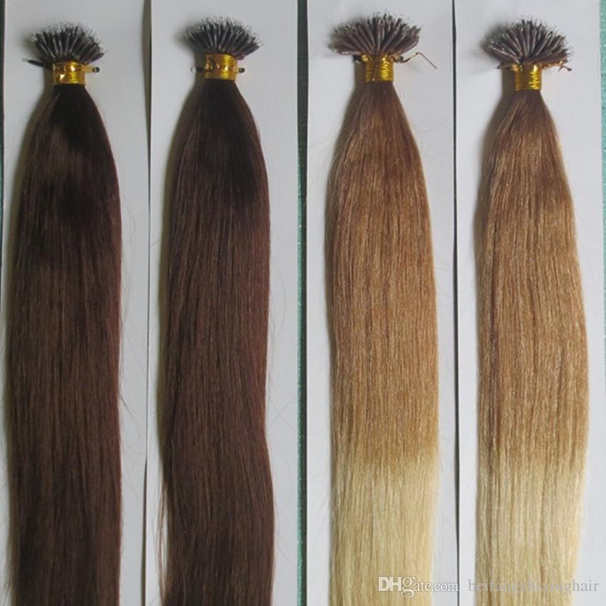 Grade 9A - Anneau 100% nano de cheveux humains extension de cheveux raides 1g / brin100s / lot, 7 couleurs pour le choix, dhl gratuit