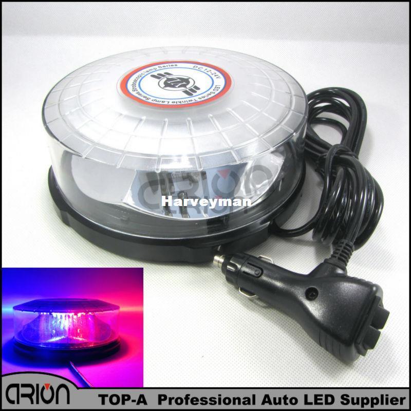 Neue 24 led Polizei blitzlichter super helle fahrzeug blitzlampe auto Notfall led blitzlicht mit magnet ROT BLAU DC12V
