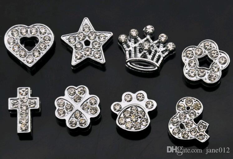 10 MM Completo Rhinestones Acessórios Da Jóia Coroa Cruz 11 Projetos Encantos Do Coração de Metal Solto Pérolas para Fazer Jóias Mix Atacado A Granel