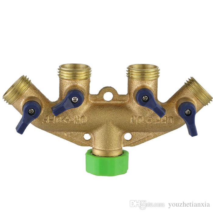 free shipping hose splitter way valve brass Garden Water Connector irrigation lawn joint pipe fitting controllable switch