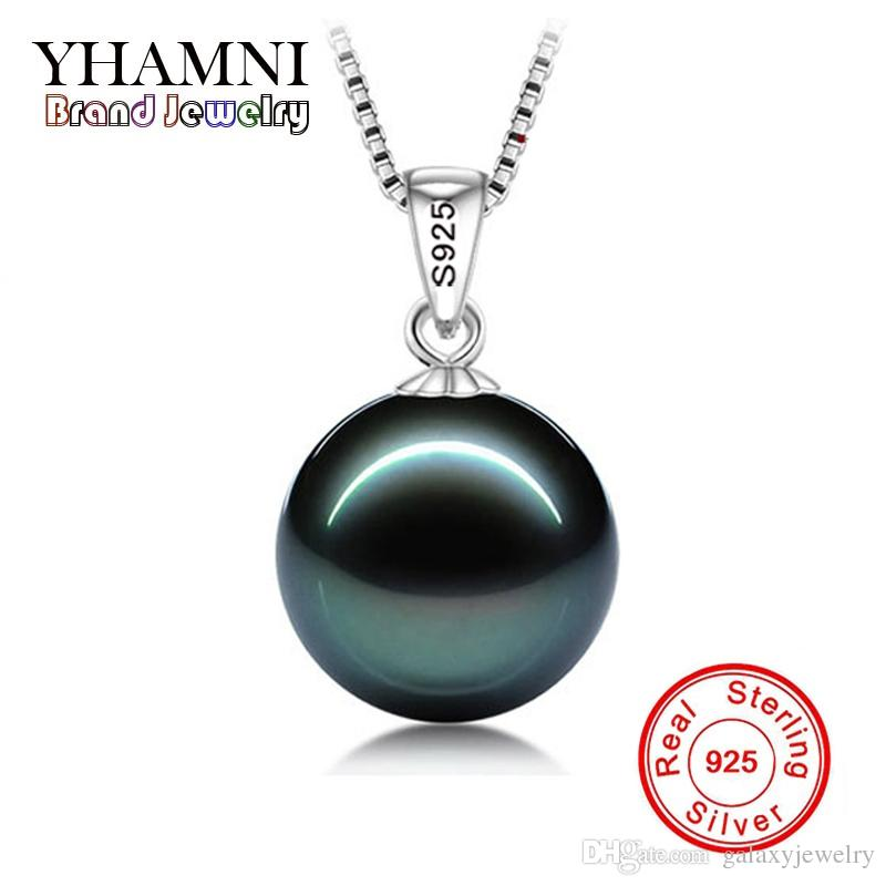 YHAMNI Original Flawless Black Pearl Pendant Necklace With Solid 925 Silver Chain Necklace Wedding Jewelry for Women N001