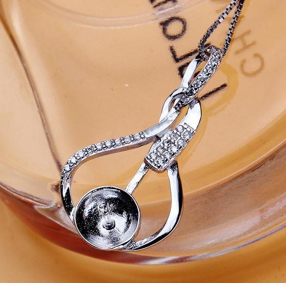 Großhandelsheißer Verkauf eingelegter Zircon natürliche Perlen-hängende Halsketten-Zusatz verhindert Allergie DZ0215