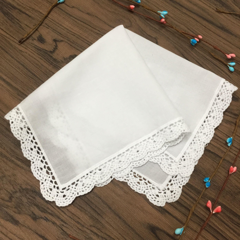 12 Set Ev Tekstili Bayanlar Mendil Beyaz Pamuk Dantel Düğün Gelin Hankies Hanky 12x12-inç