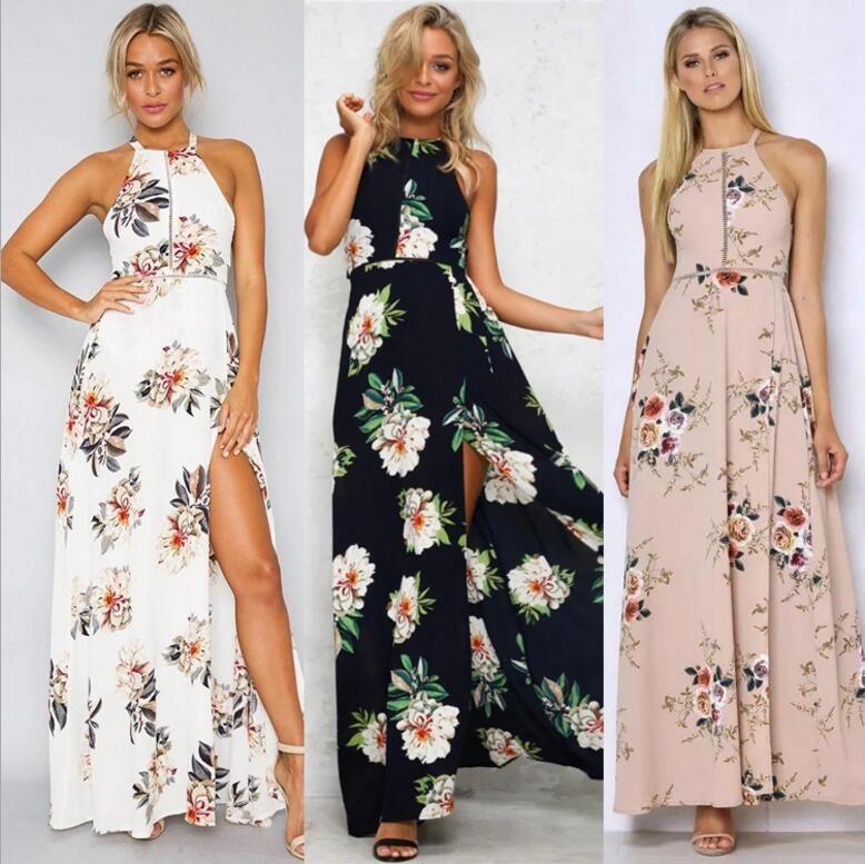 Bohemia Floral Women Summer Beach Dress Ladies Short Sleeve Backless Maxi Dress