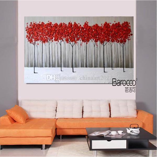 Red Flowers Tree Painting Modern Simple Pure Hand Painted Oil Painting on Canvas Home Wall Art Decoration