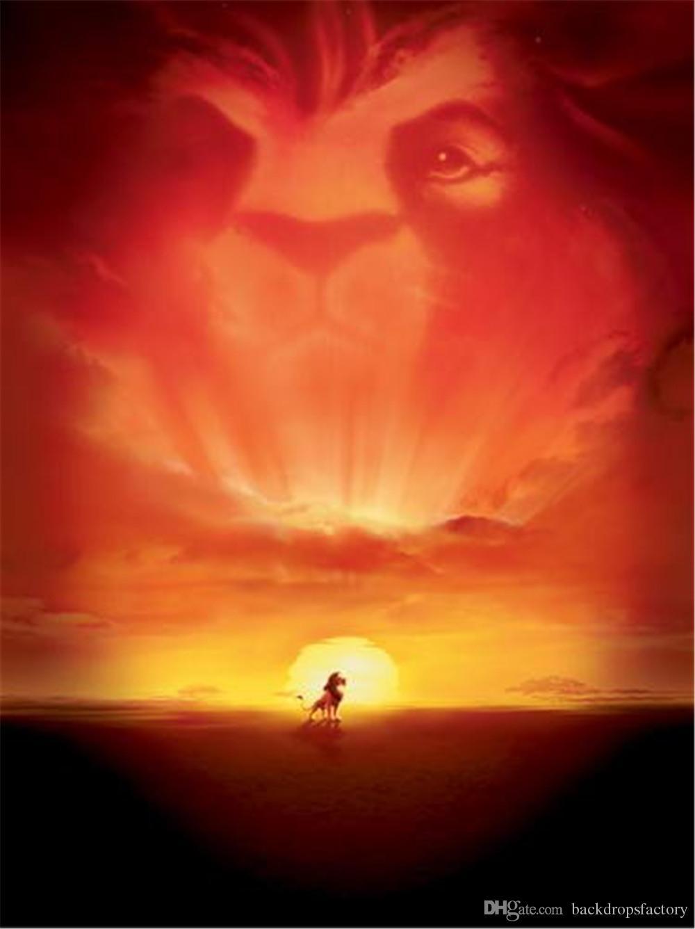 2019 Lion King Cartoon Backdrop Vinyl Cloth Beautiful Sunset Digital Kid Studio Background Children Photography Backgrounds 5x7ft From