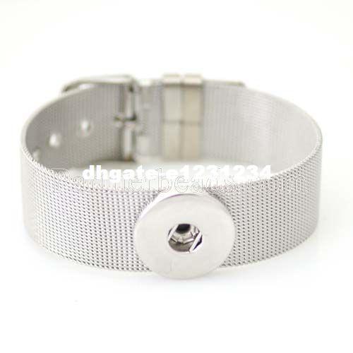 Venta al por mayor Snap BraceletBangles Pulseras de acero inoxidable de alta calidad en forma de 18 mm DIY Partnerbeads Snaps Button Jewelry KB0180-N