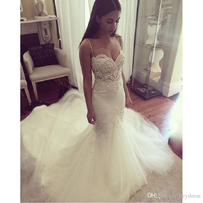 Open Back Mermaid Wedding Gowns 2017 Elegant Spaghetti Straps Appliqued Tulle Trumpet Bridal Dress Vestido Noiva