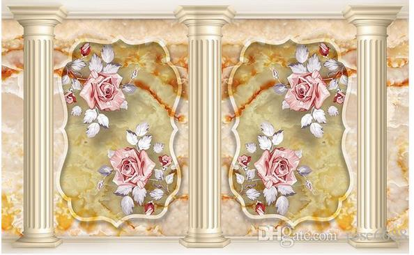 Marble Roman Pillar Background Wall Hand Painted Pattern Tiles Mural ...